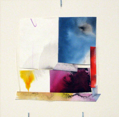 Counter-Structure #0043, 8x8in., watercolor pieces collaged on clayboard, 2009