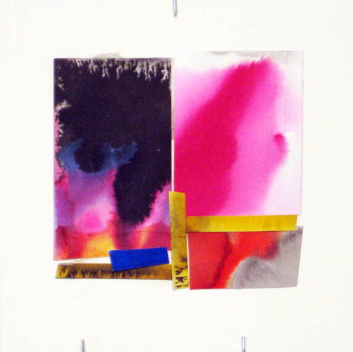 Counter-Structure #0051, 8x8in., watercolor pieces collaged on clayboard, 2009