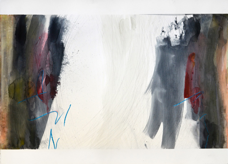 "Untitled, 22""x30"", watercolor, graphite, oil stick on 140# Fabriano Artistico."