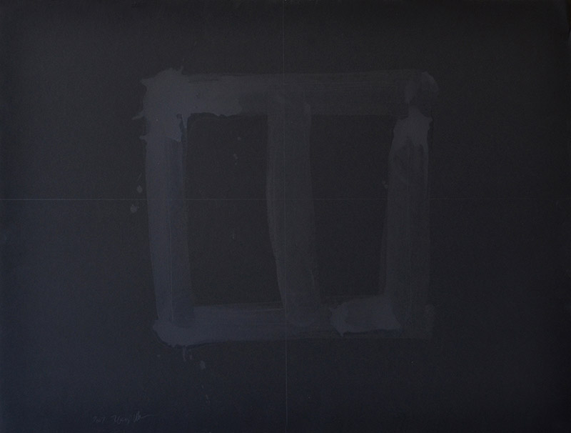 "Untitled 512, oil wash, gold pigment, graphite on 90# black Stonehenge, 22""x30"""