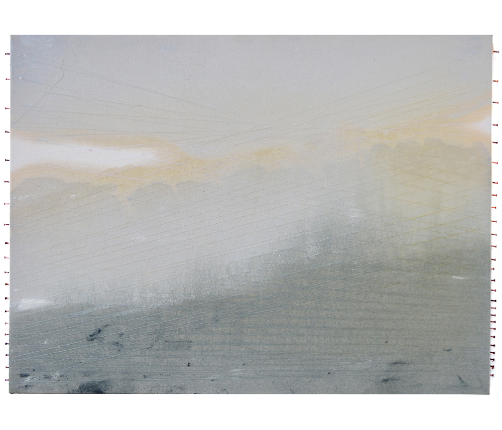 How Many Miles to Babylon #3, oil, oil wash, polyester thread, copper roofing nails on unprimed cotton canvas, 18
