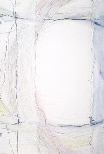 Starting to Go Somewhere, 44x30in., pencil, prismacolor, oil stick on 90lb. white Stonehenge, 2009
