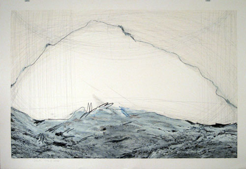 Loss of Albedo, 30x44in., pencil, prismacolor, graphite, oil stick on 90# white Stonehenge, 2009