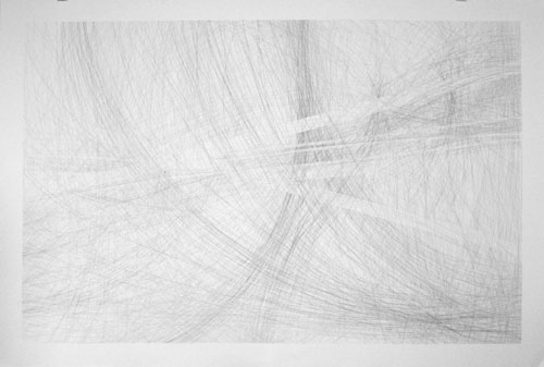 Mostly 9H, 30x44in., pencil on 90# white Stonehenge, 2009