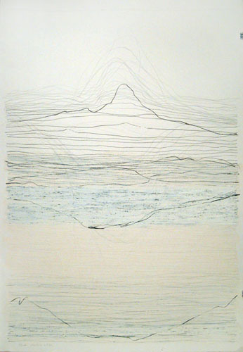 Mountains and Sea, 44x30in., pencil, prismacolor, oil stick on 90# white Stonehenge, 2009