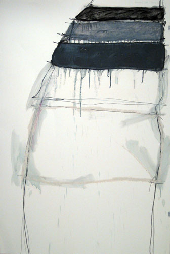 Rainbow's End, 44x30in., pencil, prismacolor, charcoal, oil stick, oil wash on 90# white Stonehenge, 2009