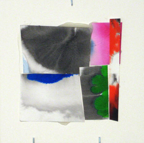 Counter-Structure #0037, 8x8in., watercolor pieces collaged on clayboard, 2009