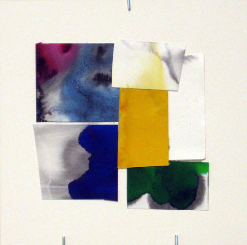 Counter-Structure #0038, 8x8in., watercolor pieces collaged on clayboard, 2009