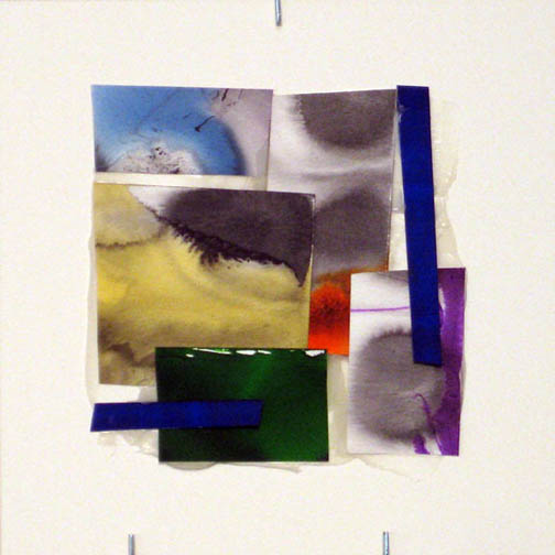 Counter-Structure #0039, 8x8in., watercolor pieces collaged on clayboard, 2009