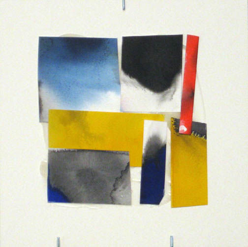 Counter-Structure #0042, 8x8in., watercolor pieces collaged on clayboard, 2009