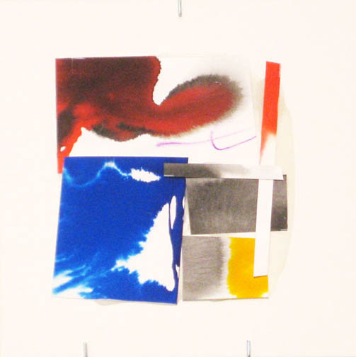Counter-Structure #0046, 8x8in., watercolor pieces collaged on clayboard, 2009