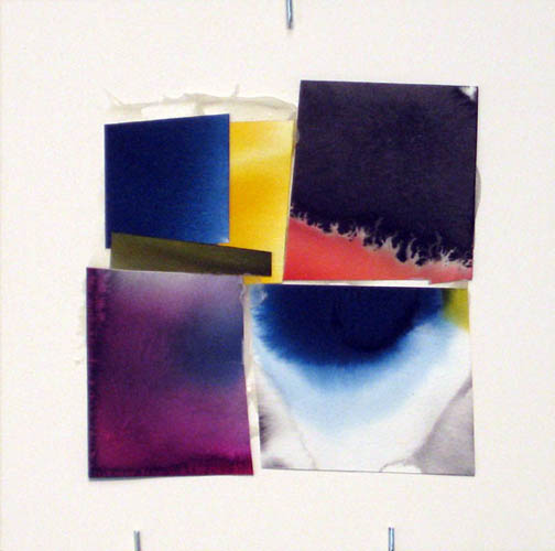 Counter-Structure #0047, 8x8in., watercolor pieces collaged on clayboard, 2009