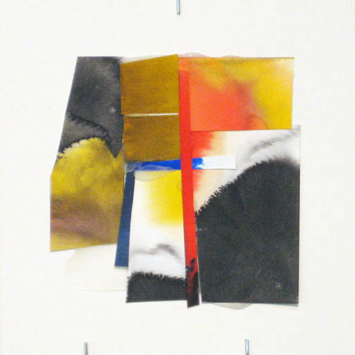 Counter-Structure #0053, 8x8in., watercolor pieces collaged on clayboard, 2009