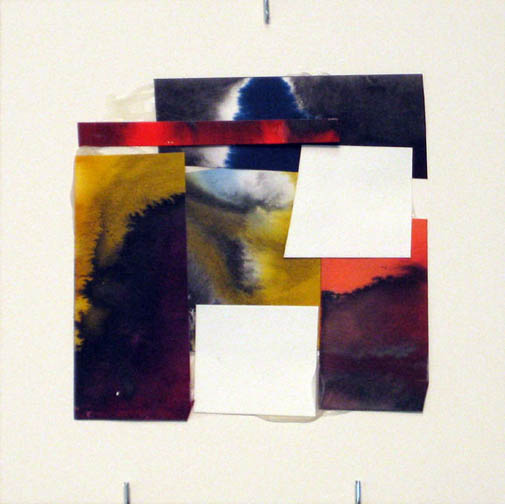 Counter-Structure #0054, 8x8in., watercolor pieces collaged on clayboard, 2009