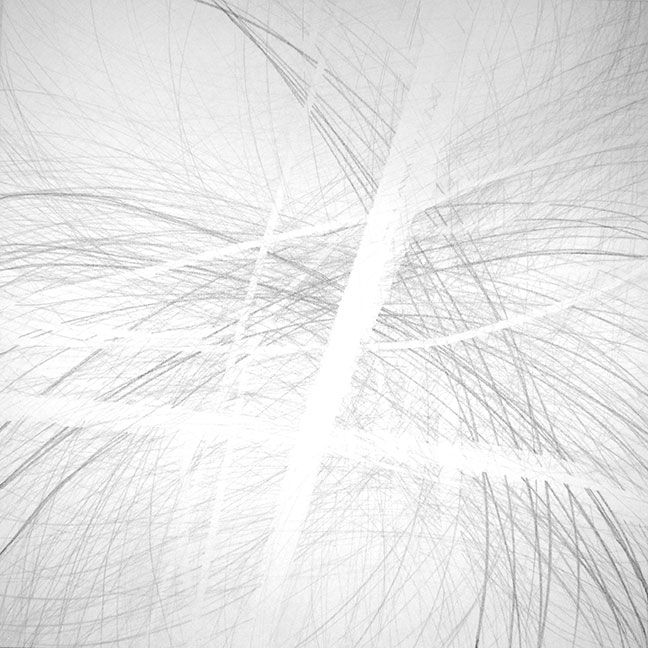 "Seasons, 36""x36"" oil stick, pencil, graphite on canvas, 2012"
