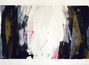"""Untitled, 22""""x30"""", watercolor, graphite, oil stick on 140# Fabriano Artistico."""
