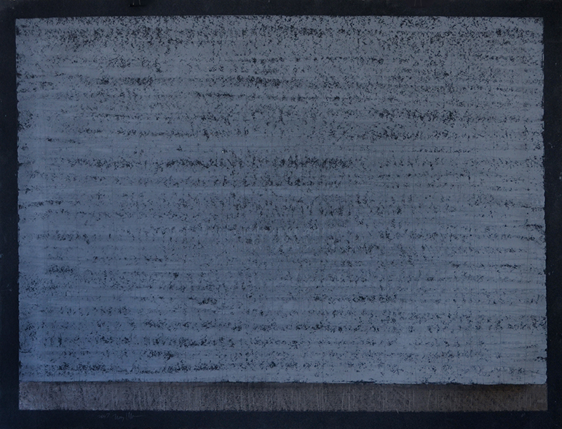"Untitled 501, oil stick, graphite on 90"" black Stonehenge, 22""x30"""