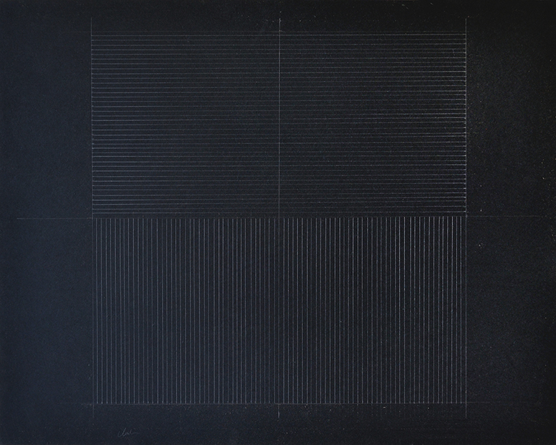 "Lines and Grids, graphite on acrylic primed masonite, 24""x30""."