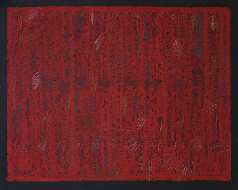 "DeProfundis 531, triptych, right side, oil stick, graphite, prismacolor on acrylic primed masonite, 24""x30"""