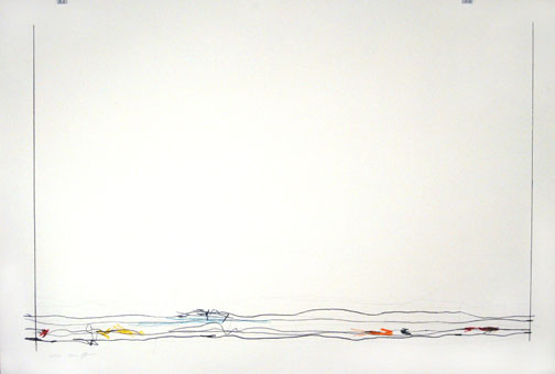 Indigo, 30x44in., pencil, prismacolor on 90# white Stonehenge, 2009