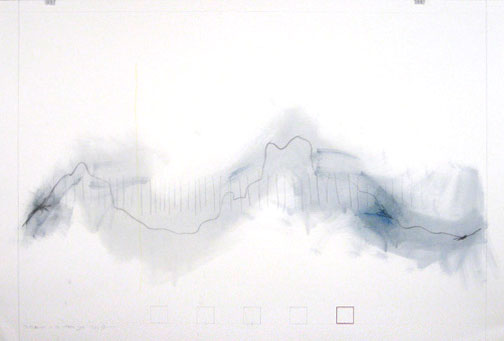 Shipwrecked on an Unknown Shore, pencil, prismacolor, oil wash on 90# white Stonehenge, 2009