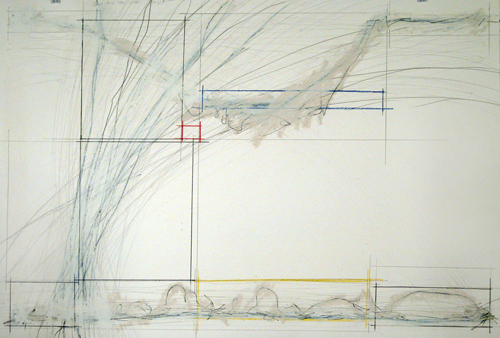 Some More Than Others, 33x44in., pencil, prismacolor, oil stick on 90# white Stonehenge, 2009